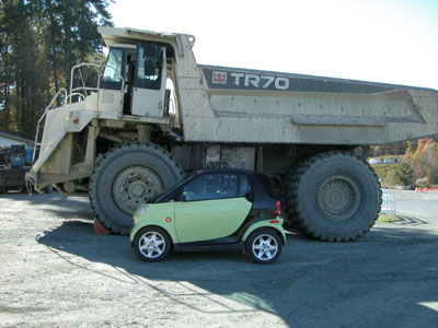The Smart beside a Terex 70-ton dump truck. The tires are taller than the car.